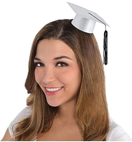 Silver Glitter Mini Grad Hat