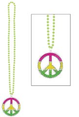 70s Neon, Peace Sign Bling Necklace