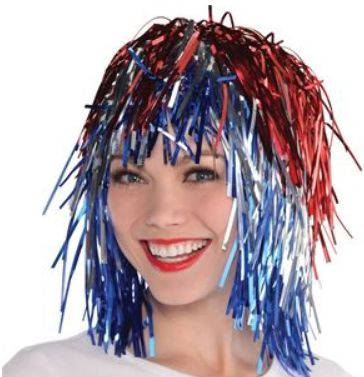 Patriotic Tinsel Wig