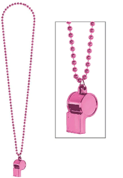 Pink Whistle On Chain Necklace, 36""