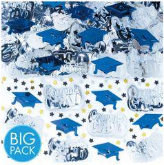 Blue School Colors Embossed Metallic Confetti