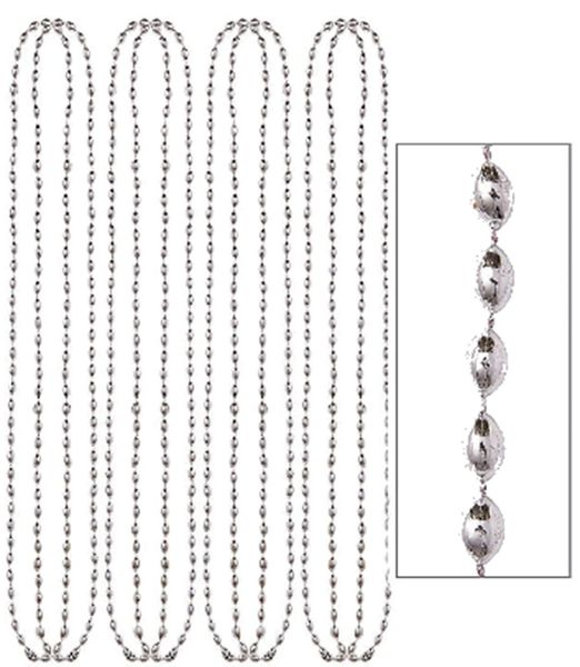 "Silver Metallic Bead Necklaces, 30"" - 8ct"