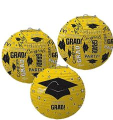 Yellow Graduation Printed Lanterns, 3ct