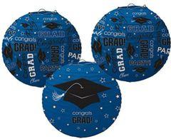 Blue Graduation Printed Lanterns, 3ct