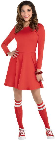 Womens Red Flare Dress