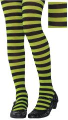 Green/Black Striped Tights - Child M/L