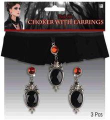 Gothic Velvet and Gem Choker & Earrings Set