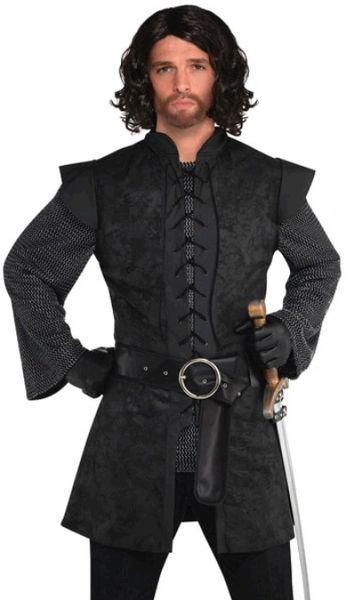 Renaissance Black Warrior Tunic - Adult Standard