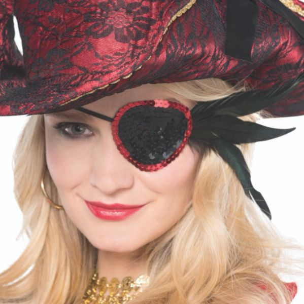 Pirate Black Feather Sequin Eye Patch