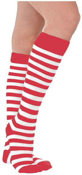 Red/White Striped Socks - Adult