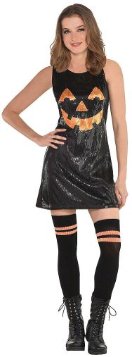 Jack-O-Lantern Sequin Dress - Adult