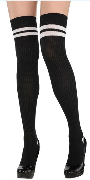 White Striped Thigh High Socks - Adult Standard