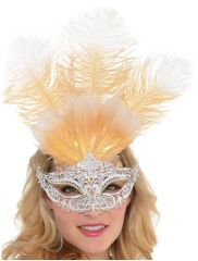 Filigree Feather Mask White/Gold