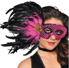 Fuchsia Feather Mask