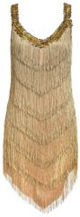 20s Adult Champagne Flapper Dress - Standard
