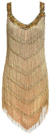 20s Adult Champagne Flapper Dress - Standard