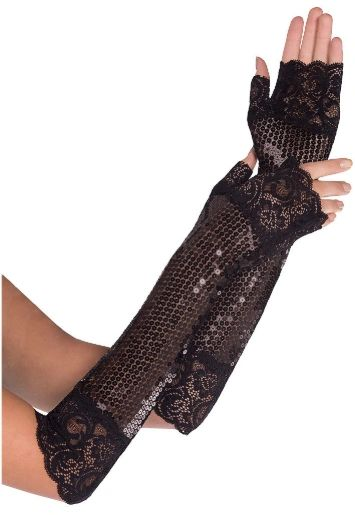 20s Sequin Lace Fingerless Gloves