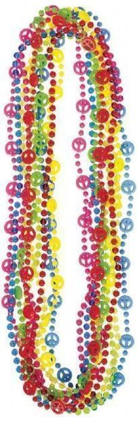 60s Peace Sign Bead Necklaces, 5ct