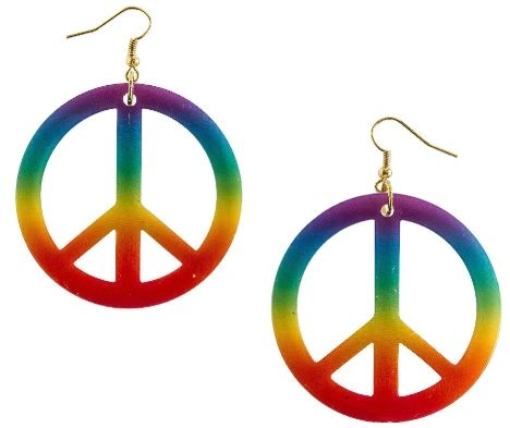 60s Tie Dye Peace Earrings