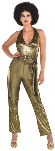 70s Disco Solid Gold Jumpsuit - Adult Standard