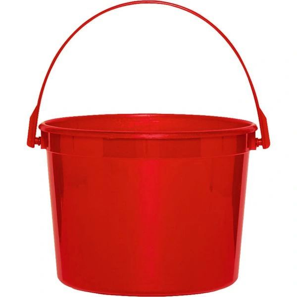 Apple Red Plastic Bucket w/Handle