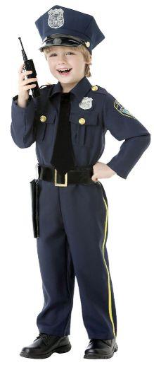 Boys Police Officer - Toddler (3-4T), Small (4-6), Medium (8-10), Large (12-14)