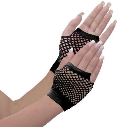 80s Black Fishnet Short Gloves