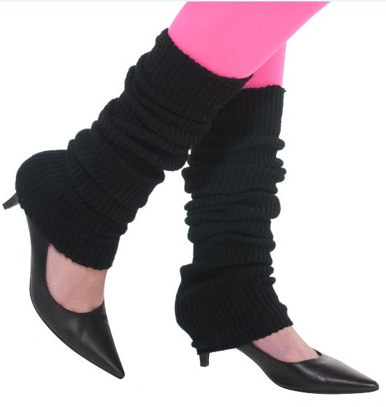 80s Black Leg Warmers - Adult
