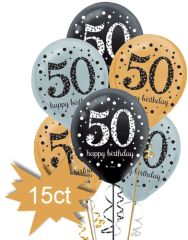 "Sparkling Celebration ""50th"" Birthday Balloons, 15ct"