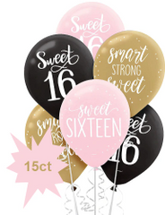 Gold & Pink Sweet 16 Balloons, 15ct