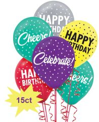 Here's To Your Birthday Latex Balloons, 15ct