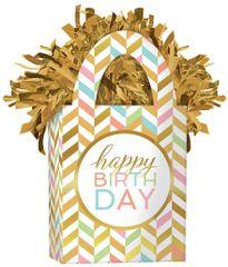 Mini Tote Balloon Weight - Happy Birthday Pastel Confetti