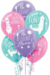 Llama Fun Printed Latex Balloons, 6ct