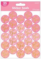 Baby Shower Sticker Seals - Girl