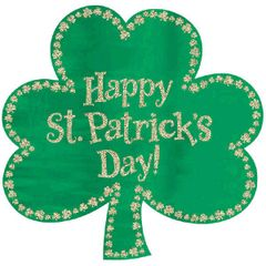 Glitter Happy St Patrick's Day Shamrock Cutout