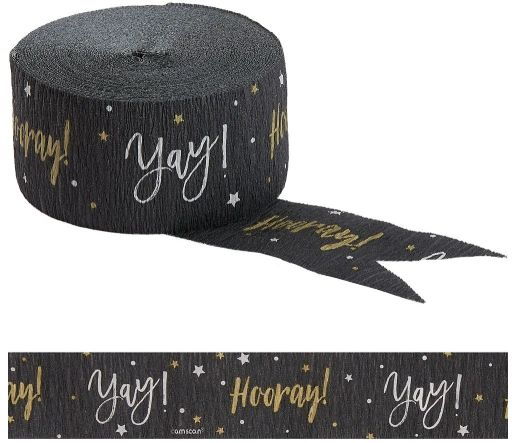 Hooray Yay Crepe- Black/Silver/Gold, 81ft
