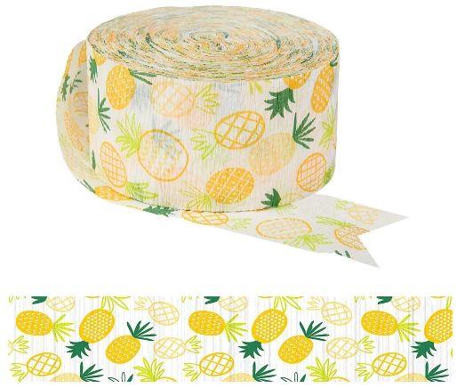Printed Crepe Streamer, 81' - Pineapple