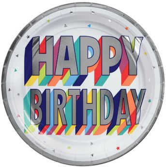 "Here's To Your Birthday Metallic Dessert Plates, 7"" - 8ct"