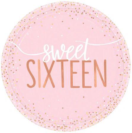 """Blush Sixteen Foil Dessert Plates, 7"""" - 8ct"""