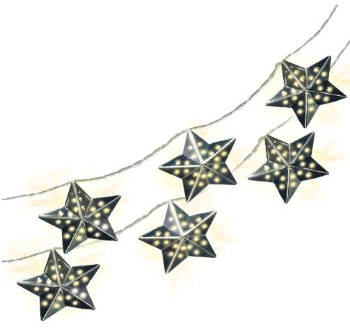 Metal Stars Battery Operated LED String Lights, 6ft