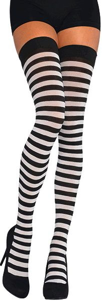 Black/White Striped Thigh Highs - Adult Standard