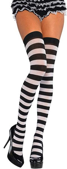Black/White Wide Striped Thigh Highs - Adult Standard