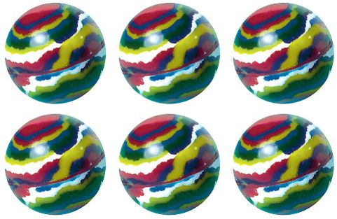Stripe Bounce Balls - Packaged, 6ct