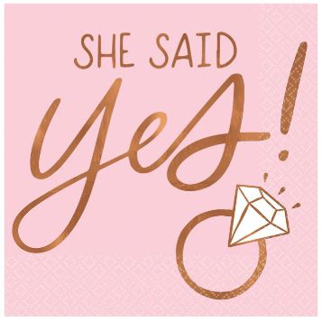 She Said Yes Beverage Napkins - Hot Stamped, 16ct