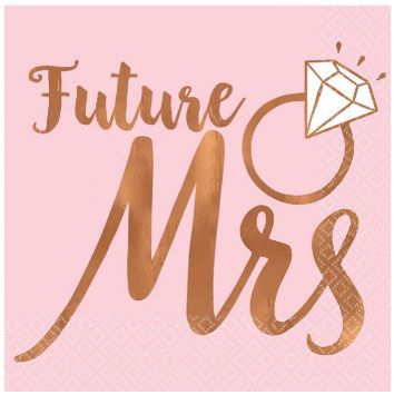 Blush Wedding Beverage Napkins Future Mrs. - Hot Stamped, 16ct