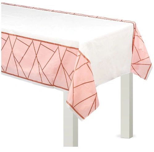 Blush Wedding Plastic Table Cover