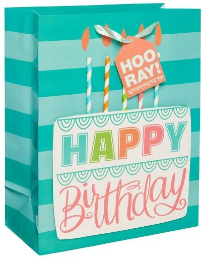 Birthday Cake Large Bag w/Gift Tag