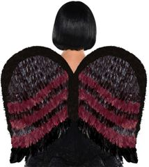 Black/Burgundy Feather Wings
