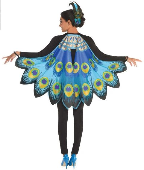 Peacock Printed Fabric Wings