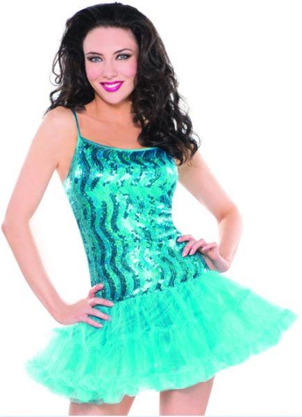 Blue Sequin Petticoat Dress - Adult S/M or M/L